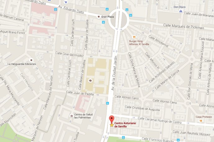 Localización de AsturSevilla - Centro Asturiano de Sevilla